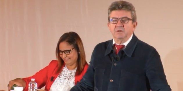 Jean-Luc Mélechon en meeting pour apporter son soutien à la candidate insoumise Farida