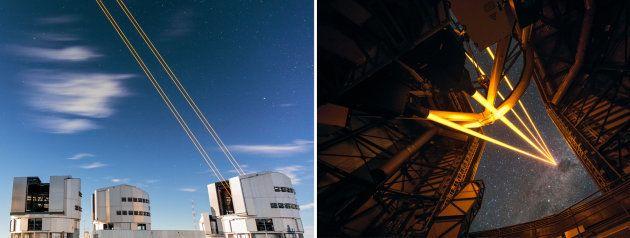 Ceci est une simple photo d'illustration. Les lasers du Très Grand Télescope de l'ESO ne sont pas des...