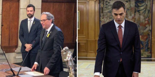 Prestations de serment à Madrid, pour Pedro Sanchez (à gauche) et Barcelone pour Quim Torra (à droite),...