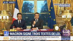 Macron a signé trois lois en direct depuis