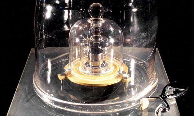 The international prototype of the kilogram in its housing at the Pavillon de Breteuil in Saint-Cloud,...