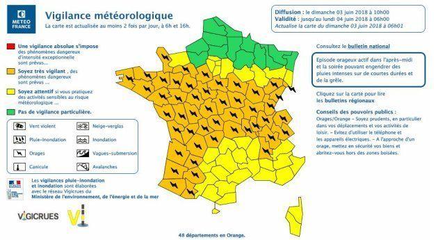 Météo Franc place 48 départements en vigilance