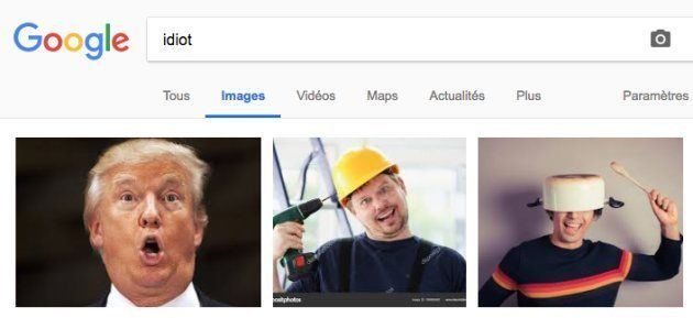 Une photo de Donald Trump apparaît également en tête des recherches du mot