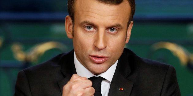 Le Président Macron lors d'un discours faisant suite à la signature de trois textes de loi, la loi de...