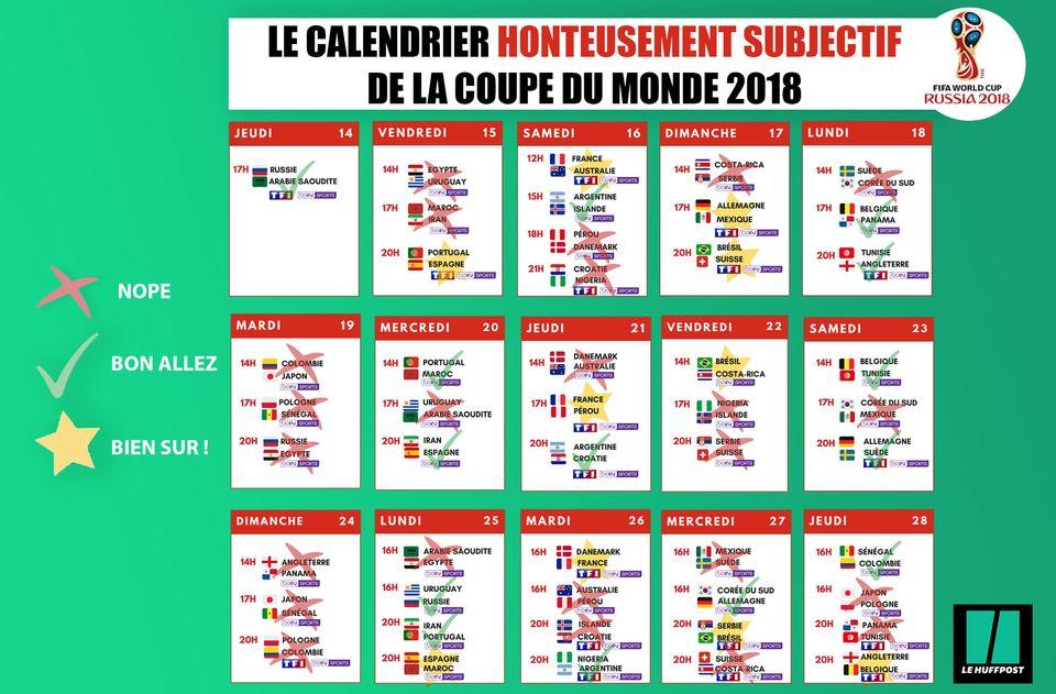 Coupe du monde 2018: le calendrier honteusement subjectif à