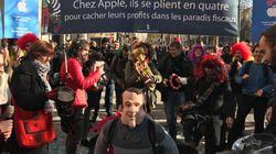 Pour l'inauguration du Apple Store, Attac est venue