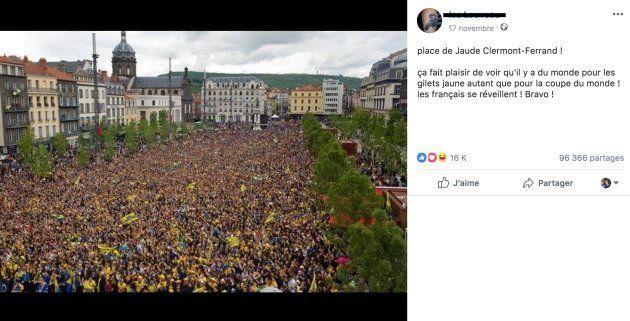 Cette photo ne montre pas des gilets jaunes le 17 novembre 2018, mais un rassemblement de fans de rugby...
