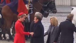 Emmanuel et Brigitte Macron accueillis par le couple royal en