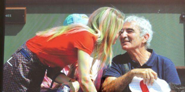 Raymond Domenech en compagnie de Carine Galli à