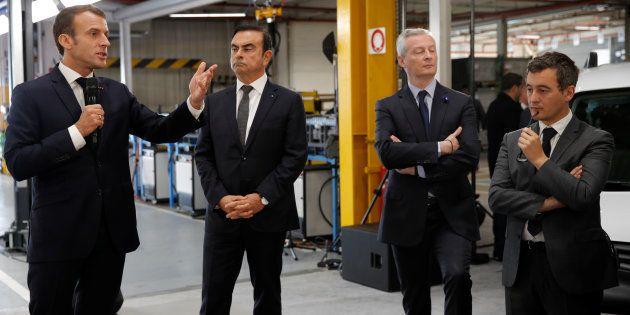 Le PDG de Renault Carlos Ghosn en compagnie du président de la République Emmanuel Macron, du ministre...
