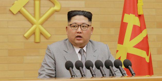 Kim Jong-Un lors de son discours du Nouvel An à Pyongyang le 1er janvier