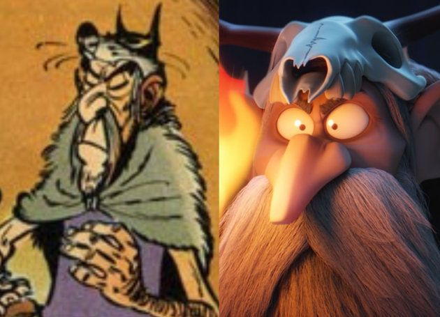 A gauche le devin Prolix de l'univers de la bande dessinée et à droite Sulfurix, le druide machiavélique...