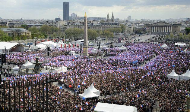 En avril 2012, Nicolas Sarkozy avait réuni ses partisans place de la Concorde juste avant le premier...