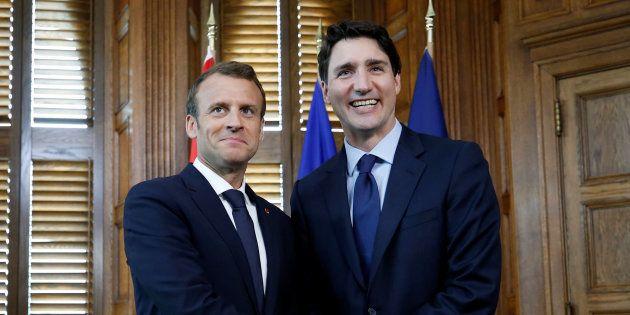 Emmanuel Macron et Justin Trudeau à Ottawa le 6 juin