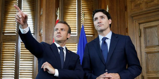 Emmanuel Macron et Justin Trudeau à Ottawa avant le