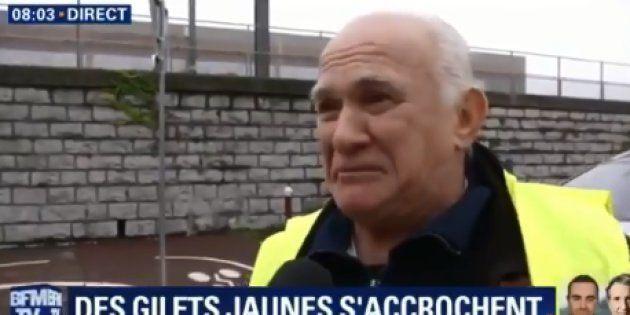 Un retraité ardéchois gilet jaune fond en larmes en direct