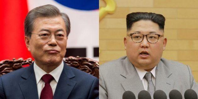 Les présidents sud-coréenet nord-coréen, Moon Jae-in et Kim