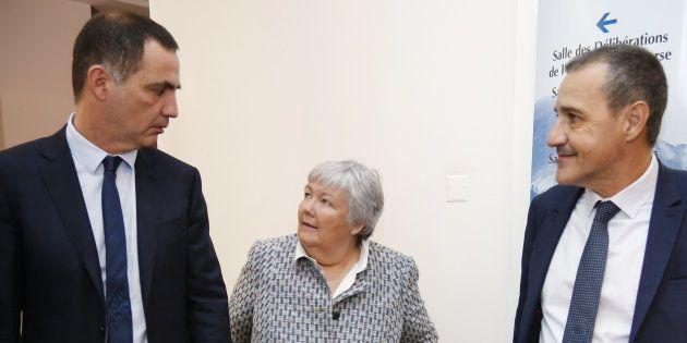 La ministre Jacqueline Gourault lors de sa rencontre avec les dirigeants nationalistes Gilles Simeoni...