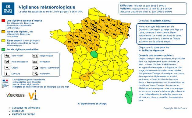 Orages et inondations: Météo-France place 37 départements en vigilance