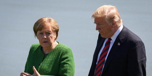 Angela Merkel et Donald Trump lors du G7 à La Malbaie au Québec le 8 juin