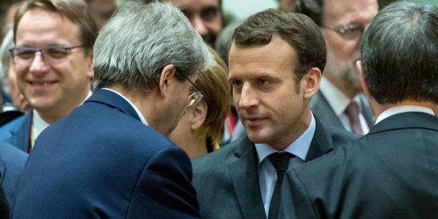 Le Premier ministre italien Paolo Gentiloni et Emmanuel macron en décembre