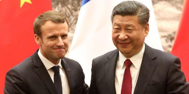 Emmanuel Macron et Xi Jinping en conférence de presse à Pékin, le 9