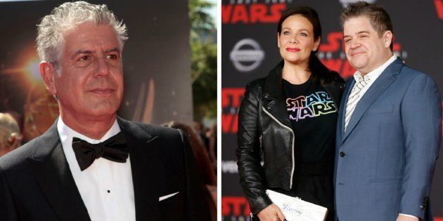 Anthony Bourdain à gauche. Patton Oswalt et Meredith Salenger à