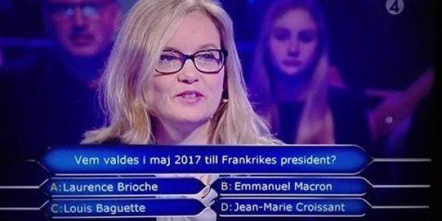 Entre humour et cliché, la télévision suédoise demande à une candidate d'un jeu qui est le président