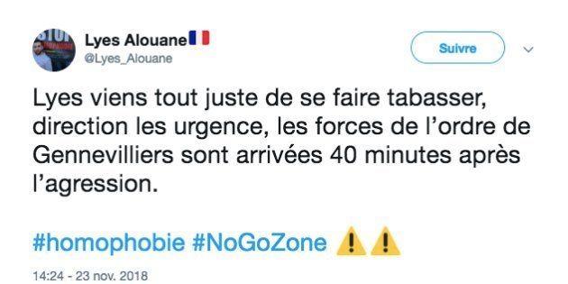 Tweet de Lyes Alouane sur l'agression qu'il a subie vendredi 23