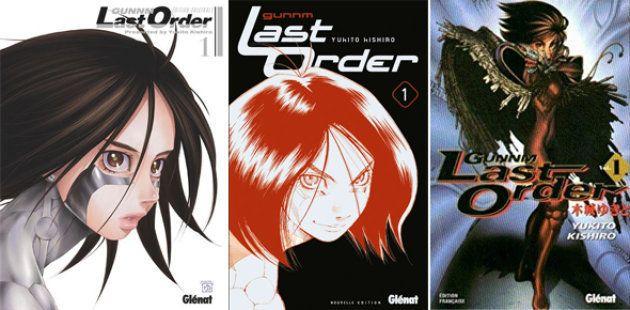 Évolution des couvertures de Gunnm Last Order par Glénat (2018, 2012 et