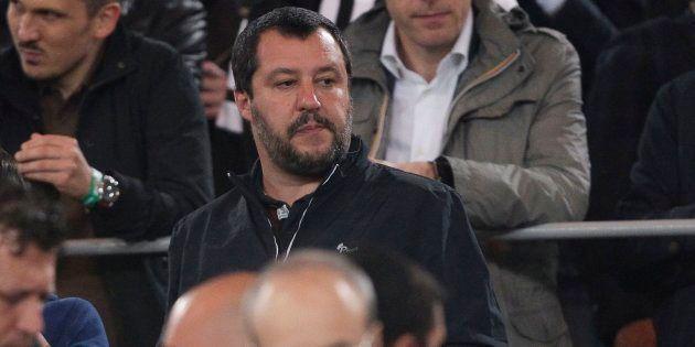 Matteo Salvini dans les tribunes lors de la finale de la Coupe d'Italie, qui opposait la Juventus à l'AC...