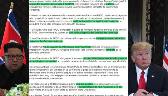 Ce qu'il faut comprendre entre les lignes du texte signé par Trump et Kim à