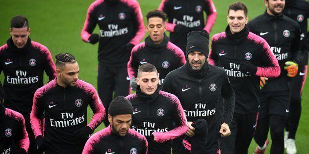 Les joueurs du PSG à l'entraînement à Saint-Germain-en-Laye le 23 novembre