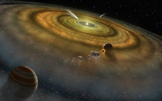 Une vue d'artiste de l'étoile Beta Pictoris, entourée d'un disque de débris, l'étape suivant le disque...