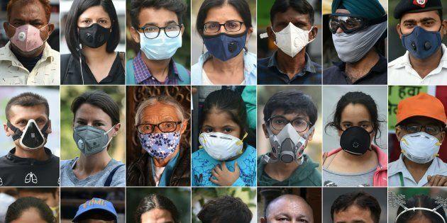 Personnes portant des masques de protection contre la pollution atmosphérique à New