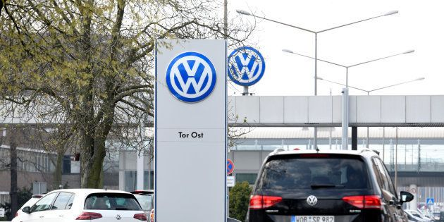 The logo of Volkswagen is seen at their plant in Wolfsburg, Germany, April 12, 2018. REUTERS/Fabian