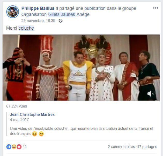 Les références à Coluche pullulent sur les réseaux sociaux gilets