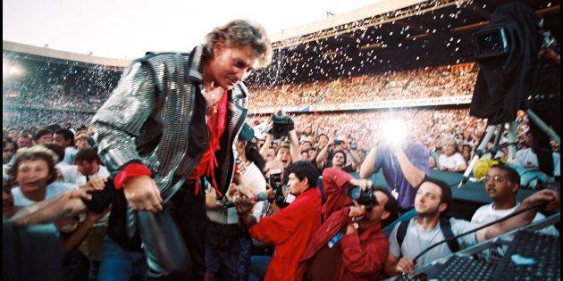Johnny Hallyday lors de ses 50 ans fêtés au Parc des Princes, en juin