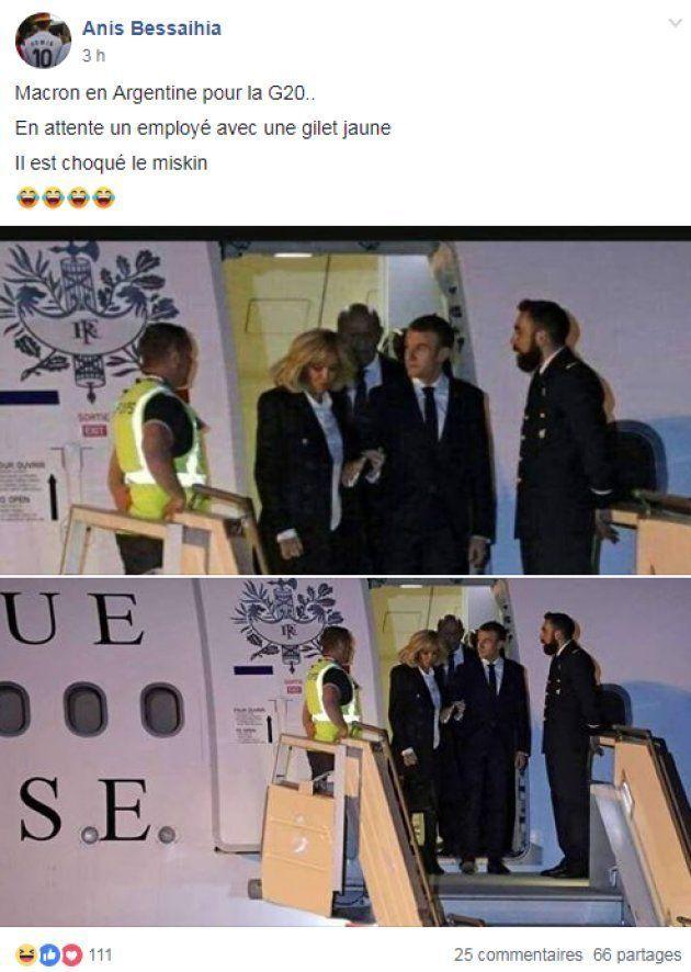 Macron accueilli par un gilet jaune à Buenos