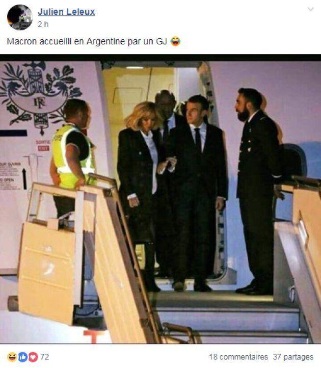 Macron accueilli par un gilet jaune à Buenos Aires? Cette photo amuse les
