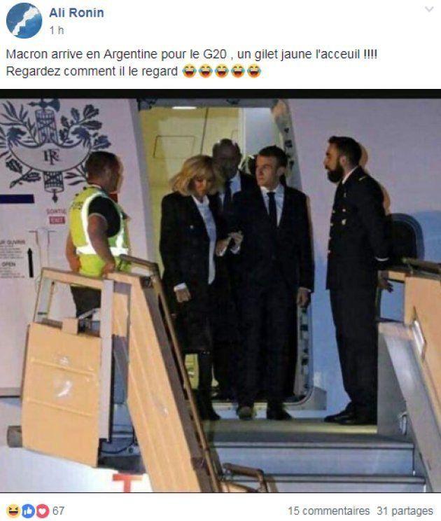 Macron accueilli par un homme vêtu d'un gilet jaune à Buenos