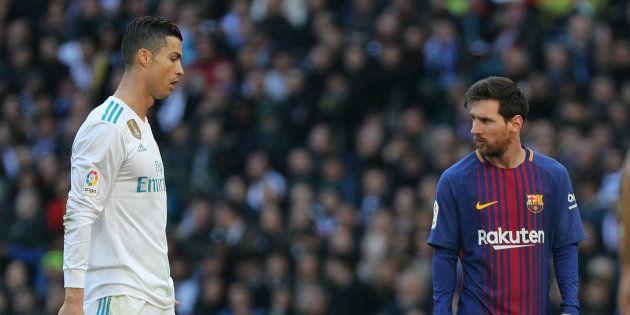 Cristiano Ronaldo et Lionel Messi lors de Real Madrid-FC Barcelone le 23 décembre