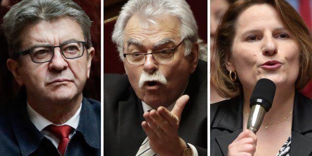 Jean-Luc Mélenchon (LFI), André Chassaigne (PCF) et Valérie Rabault (PS) discutent du dépôt d'une motion...
