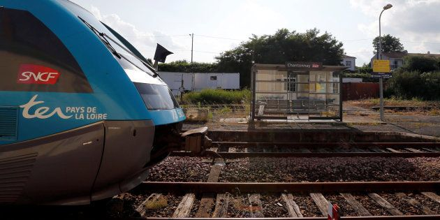 A train arrives at the French state-owned railway company SNCF station in Chantonnay, France, June 13,...