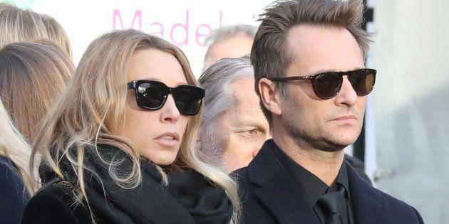 Laura Smet et David Hallyday lors des funérailles de leur père Johnny