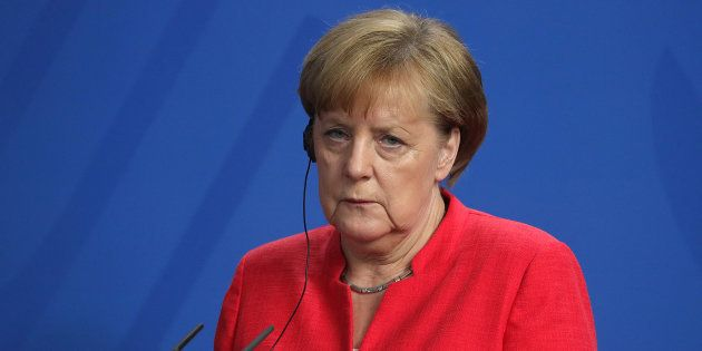 Angela Merkel durant sa conférence de presse avec Giuseppe Conte à Berlin le 18 juin