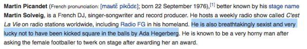 La page Wikipédia en anglais de Martin Solveig, quelques minutes après la cérémonie de remise du Ballon