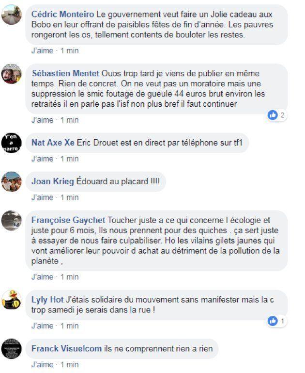 Capture d'écran du groupe facebook