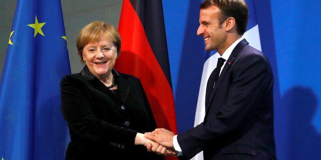 Angela Merkel et Emmanuel Macron à Berlin, le 18