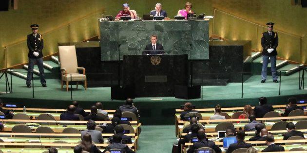 Emmanuel Macron lors d'un discours à l'Onu, où a été négocié le pacte sur les migrations qui doit être...